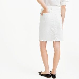 NWT J.Crew Frayed Denim Pencil Skirt In White